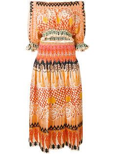 платье с открытыми плечами и узором Temperley London
