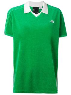 велюровая рубашка-поло с вышитым логотипом  Adidas Originals By Alexander Wang