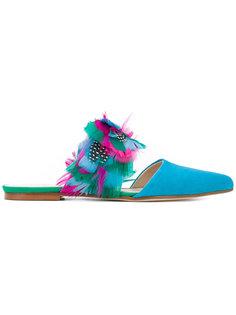 сандалии с аппликацией из перьев Anna Baiguera