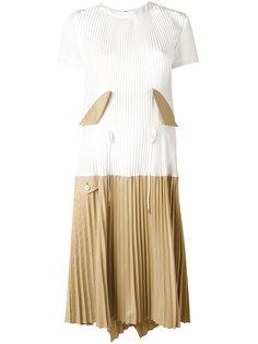 плиссированное платье комбинированного кроя Sacai
