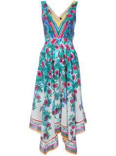 платье с драпировкой и цветочным принтом Saloni