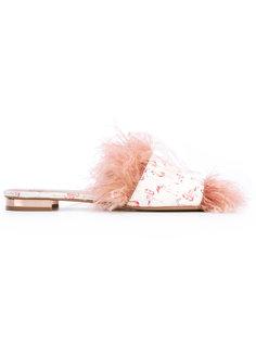 мюли с перьями и принтом фламинго Gianna Meliani