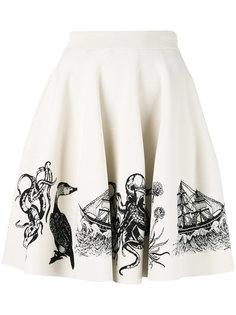 юбка с жаккардовой вышивкой Alexander McQueen