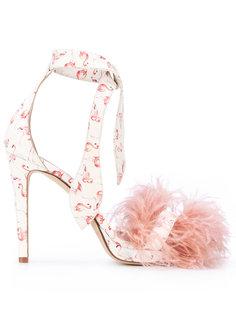босоножки с перьями и принтом фламинго Gianna Meliani