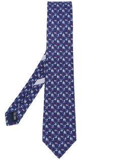 галстук с принтом кораблей Salvatore Ferragamo