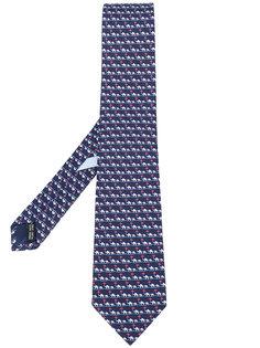 галстук с мелким принтом слонов Salvatore Ferragamo