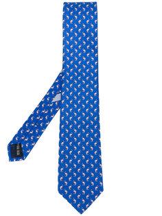 галстук с принтом дельфинов Salvatore Ferragamo