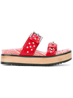 сандалии с вышивкой и заклепками Alexander McQueen