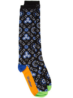 floral border print socks Walter Van Beirendonck