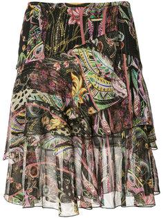 многослойная юбка с цветочным узором Roberto Cavalli