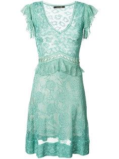 полупрозрачное платье с V-образным вырезом Roberto Cavalli