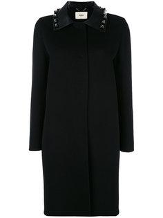 однобортное пальто с заклепками Fendi