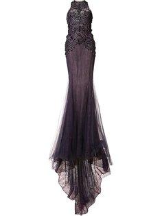 приталенное вечернее платье с блестящей отделкой Marchesa