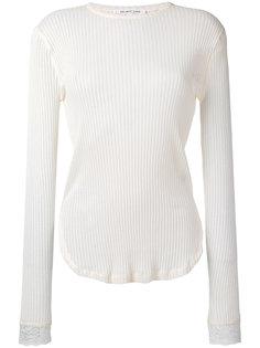 свитер в рубчик с кружевными манжетами Helmut Lang