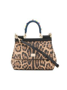 маленькая сумка-тоут с леопардовым принтом Sicily Dolce & Gabbana