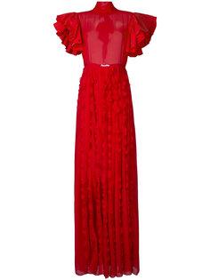 полупрозрачное вечернее платье с оборками Brognano