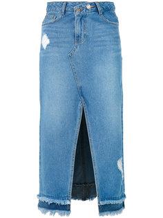 джинсовая юбка со шлицей спереди Steve J & Yoni P