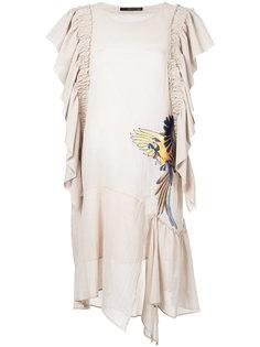 bird embroidered draped dress Maurizio Pecoraro