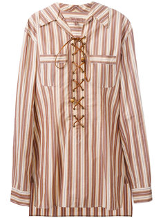 lace-up striped tunic shirt Romeo Gigli Vintage
