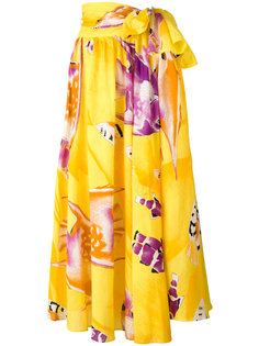 tie waist carp print skirt Jean Louis Scherrer Vintage