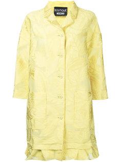 пальто с рюшами и растительным узором Boutique Moschino