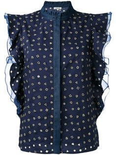 блузка с рюшами и геометрическим узором Manoush