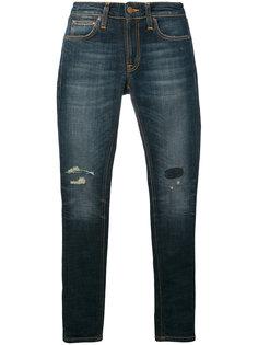 джинсы скинни с рваной отделкой  Nudie Jeans Co