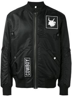 patched bomber jacket Helmut Lang