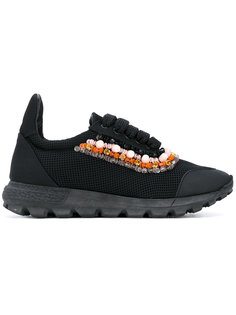 beaded trim lace-up sneakers No Ka Oi