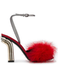 feather embellished sandals Marco De Vincenzo