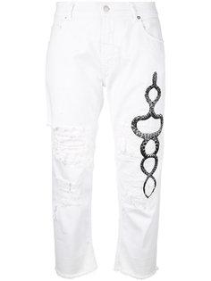 укороченные джинсы с принтом змеи Marcelo Burlon County Of Milan