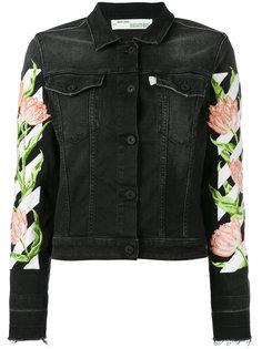 джинсовая куртка с цветочным принтом на рукавах  Off-White