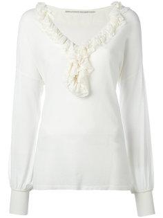 трикотажная блузка с оборкой на горловине  Ermanno Scervino