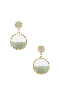 Semi circle gold & mint earrings - Wanderlust + Co