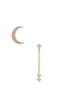 Crescent gold & opal drop earring - Wanderlust + Co