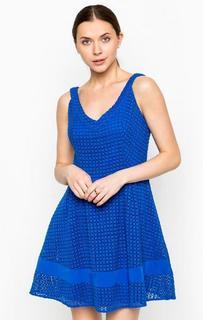 Короткое синее платье из хлопка Kocca