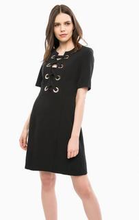 Черное платье с декоративной шнуровкой River Woods