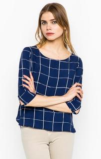 Синяя блуза в клетку Tom Tailor Denim