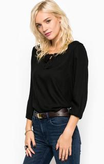 Черная однотонная блуза из вискозы Blend She