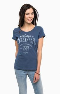 Синяя хлопковая футболка с принтом Mustang