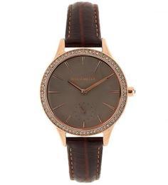Часы с коричневым кожаным браслетом и отделкой кристаллами Swarowski Karen Millen