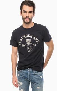 Темно-синяя хлопковая футболка с принтом D&S Ralph Lauren