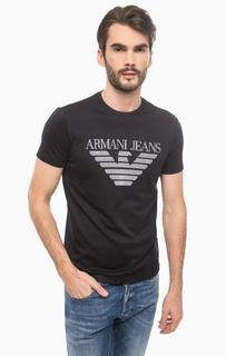 Синяя хлопковая футболка с круглым вырезом Armani Jeans