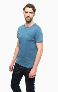 Синяя хлопковая футболка с карманом Guess