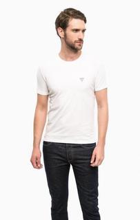 Белая хлопковая футболка с короткими рукавами Guess