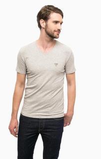 Серая хлопковая футболка с короткими рукавами Guess