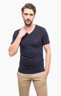 Хлопковая футболка с треугольным вырезом Guess