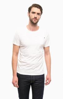 Белая хлопковая футболка с круглым вырезом Guess