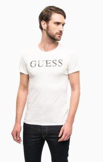 Белая хлопковая футболка с принтом Guess