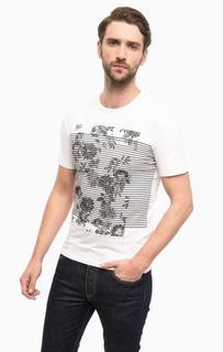 Белая хлопковая футболка с цветочным принтом Guess